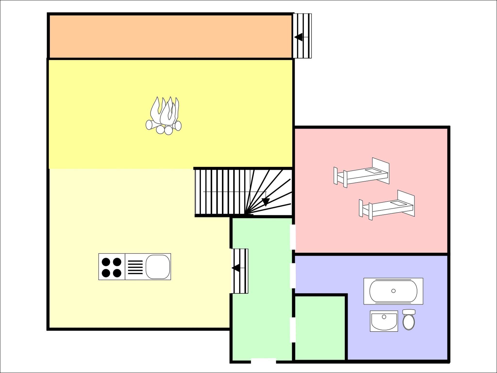 Chalet Bryher - floor plan - level 1