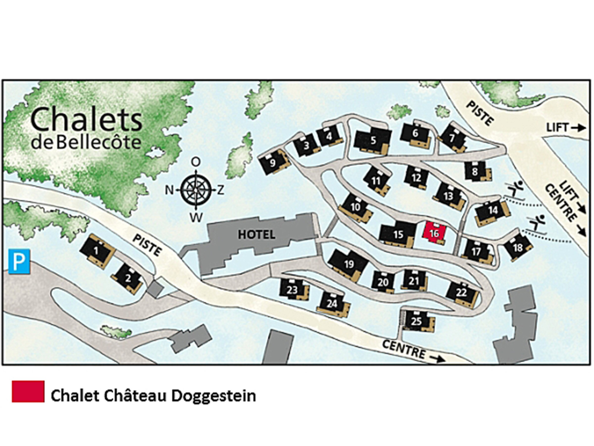 Chalet de Bellecôte Chateau Doggestein - Lageplan