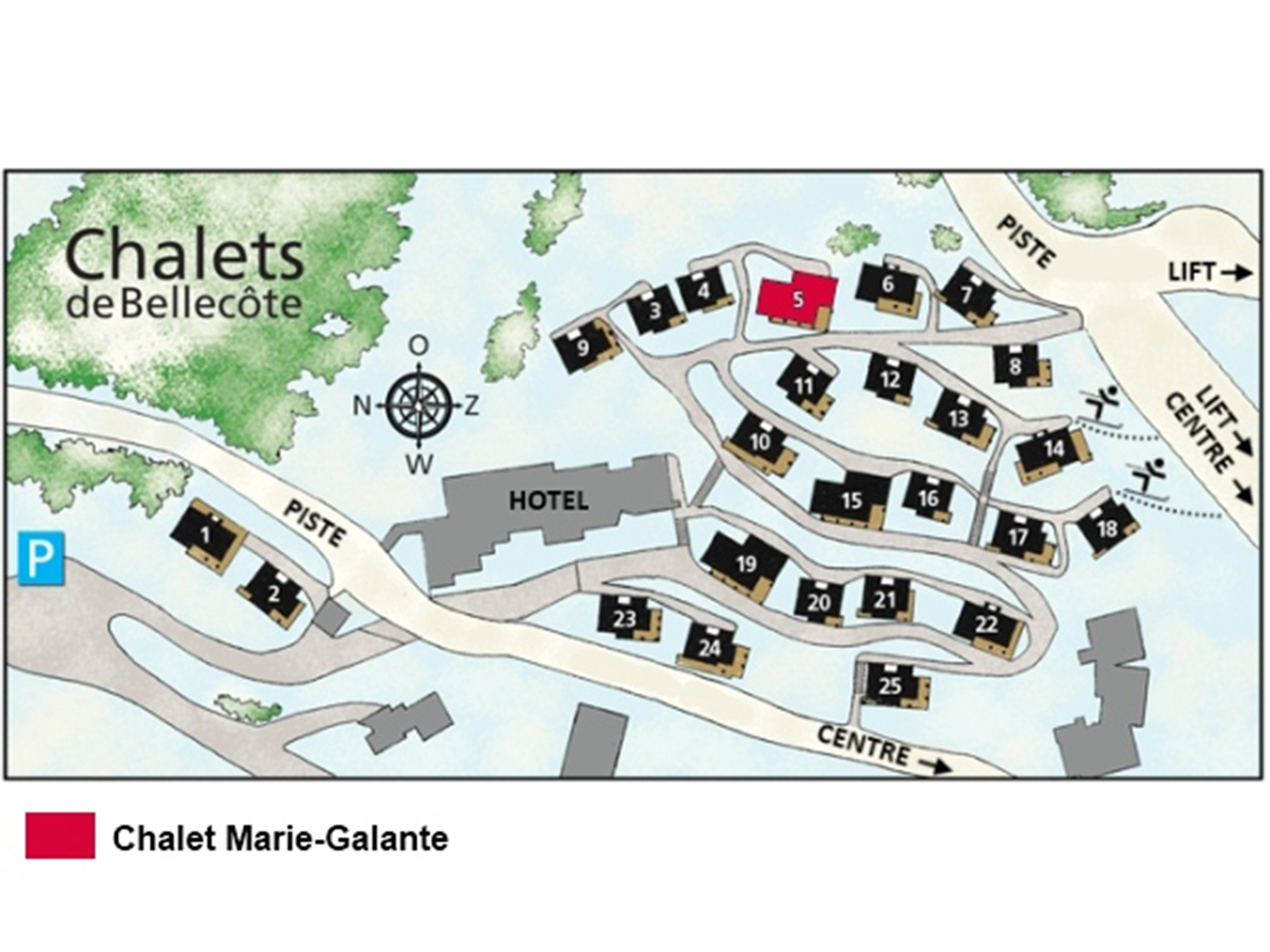 Chalet de Bellecôte Marie-Galante - location map