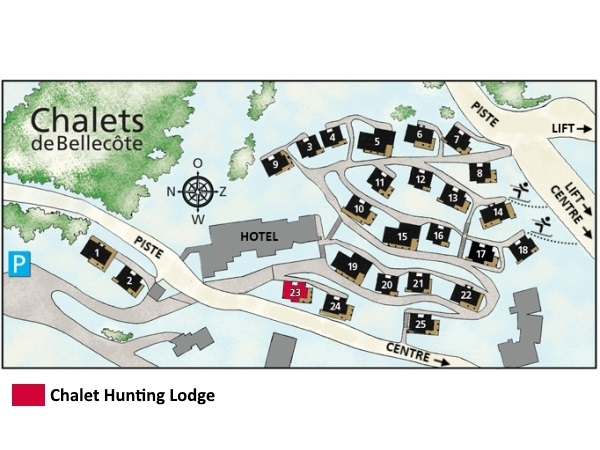 Chalet de Bellecôte Hunting Lodge - location map