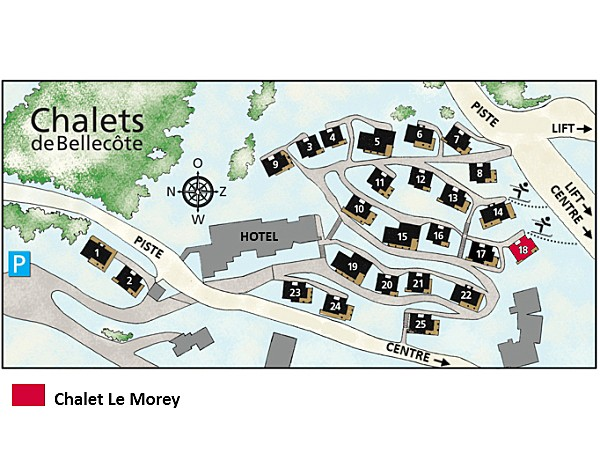 Chalet de Bellecôte Le Morey - location map